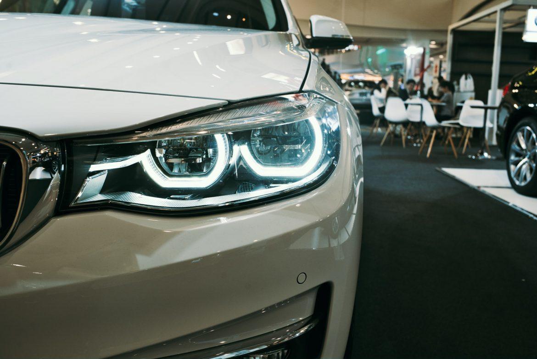 Front light of white car